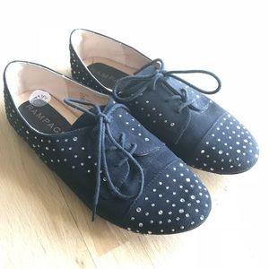 Rampage Black Rhinestone Flat Tennis Shoes